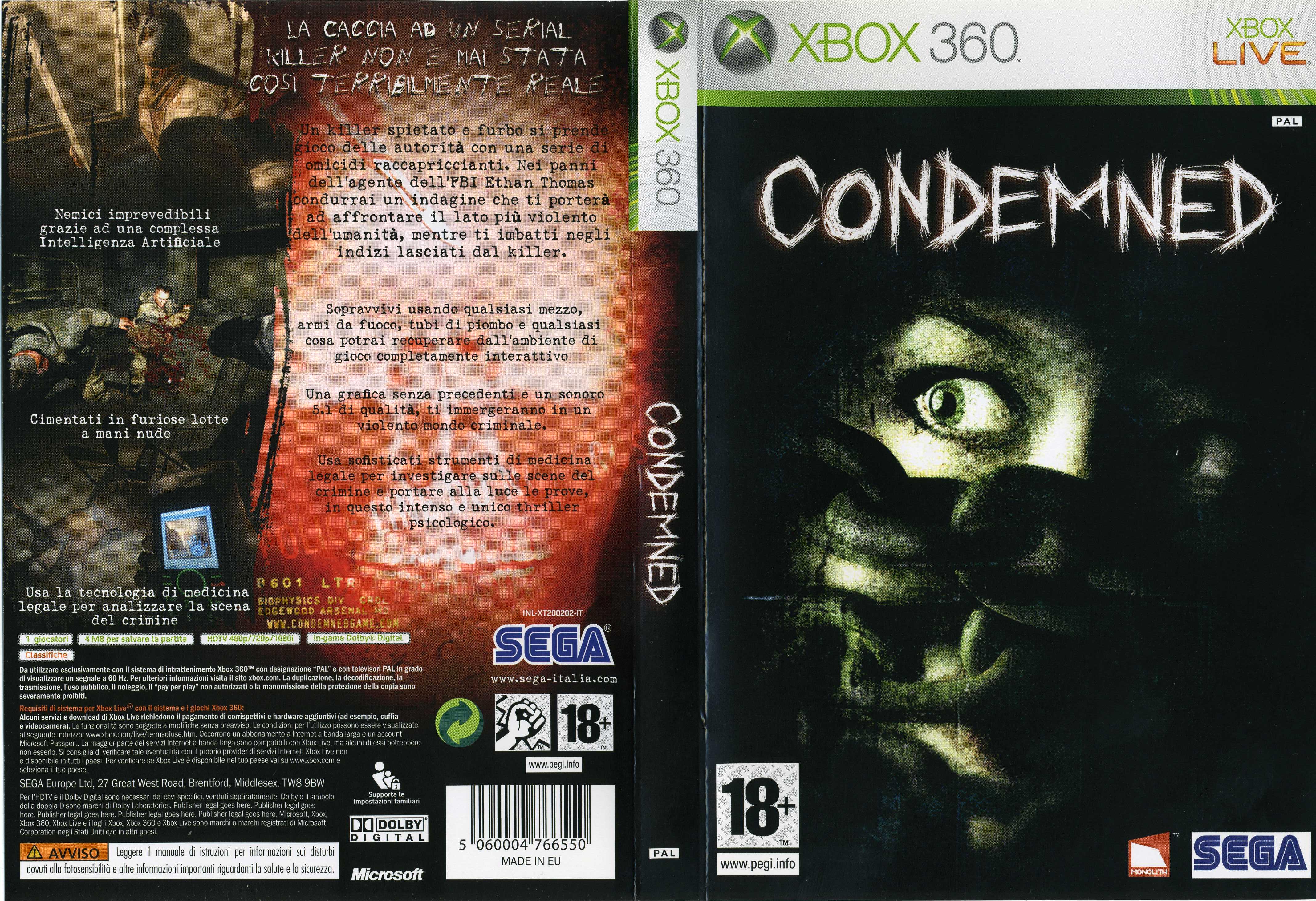 Book Cover Pictures Xbox ~ Condemned criminal origins cover ita videogiochi